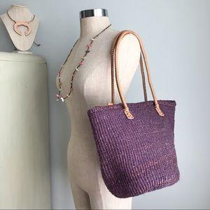 VINTAGE Sisal & Leather Purple Purse / Bag / Tote
